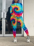 Plus Size Tie Dye Pocket Two Piece Outfits