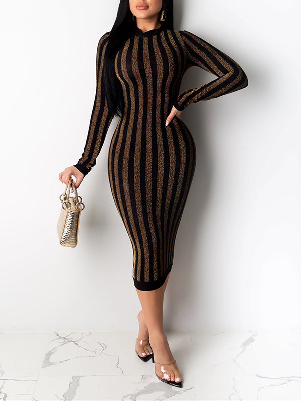 Striped Sequin Long Sleeve Midi Dress