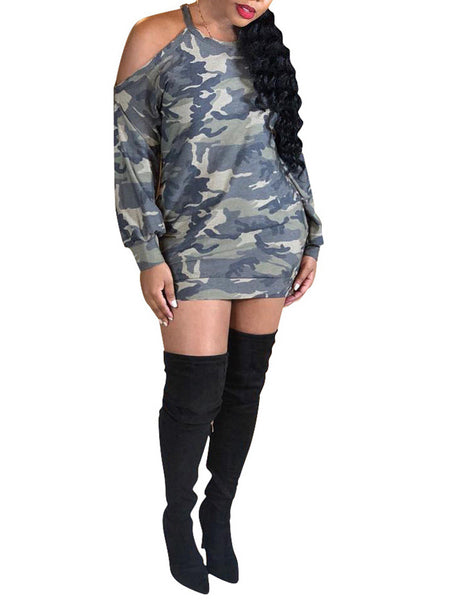 Camouflage Print Cold Shoulder Long Sleeve Casual Dress