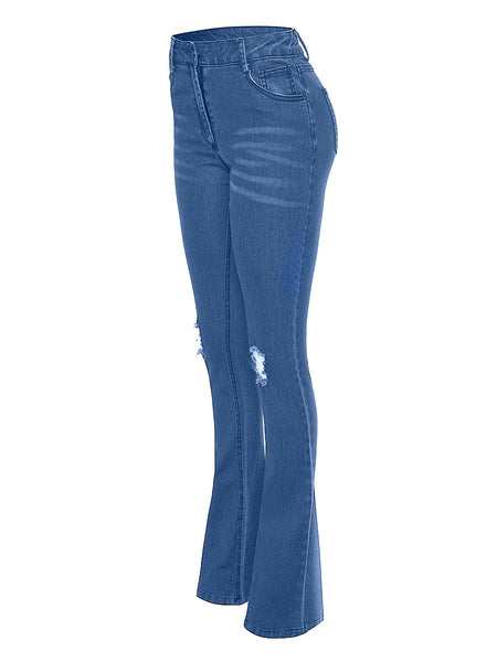 Distressed High Waist Solid Color Flare Jeans