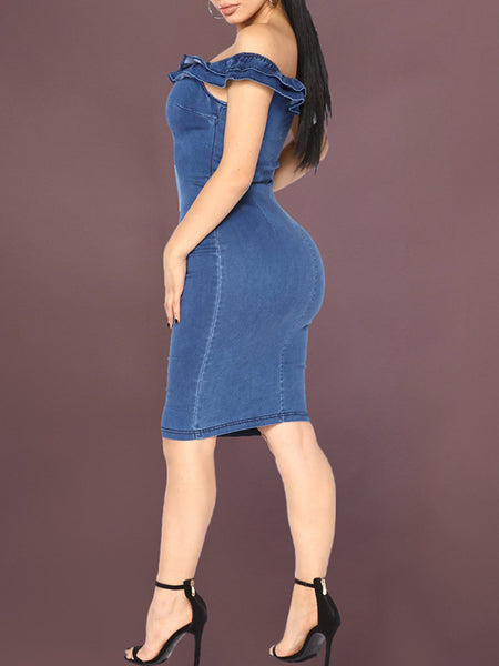 Ruffle Sleeveless Denim Bodycon Mini Dress