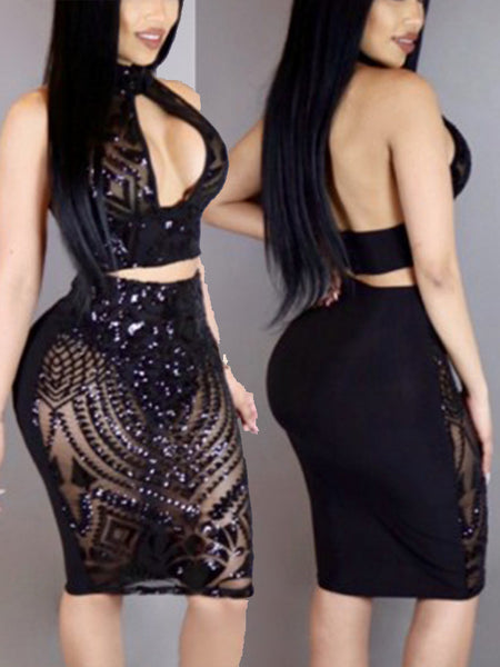 [Special Sale]Backless Halter Gauze Patchwork Two Pieces Midi Dress