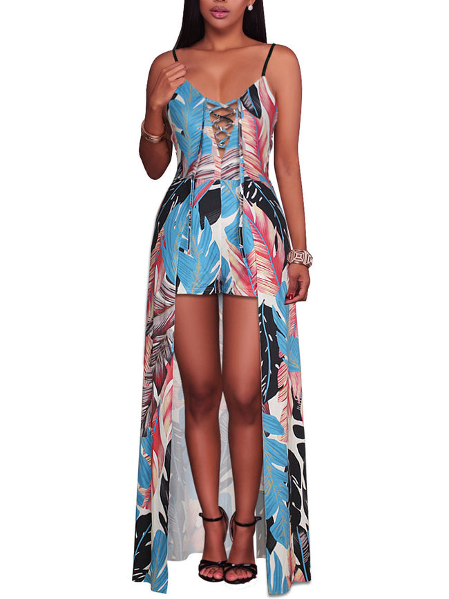 Feather Print Strap Split Jumpsuit