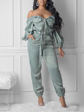Pocket Off The Shoulder Jumpsuit With Belt