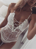 [Special Sale]Strap Lace Lace-up Romper