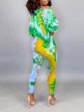 Skew Neck Tie Dye Two Piece Sets