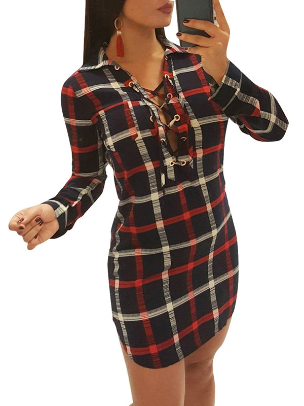 Lace Up Neckline Lattice Print Long Sleeve Mini Dress