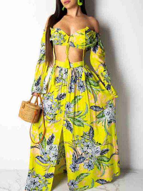 Off The Shoulder Flower Print Two Piece Maxi Dress