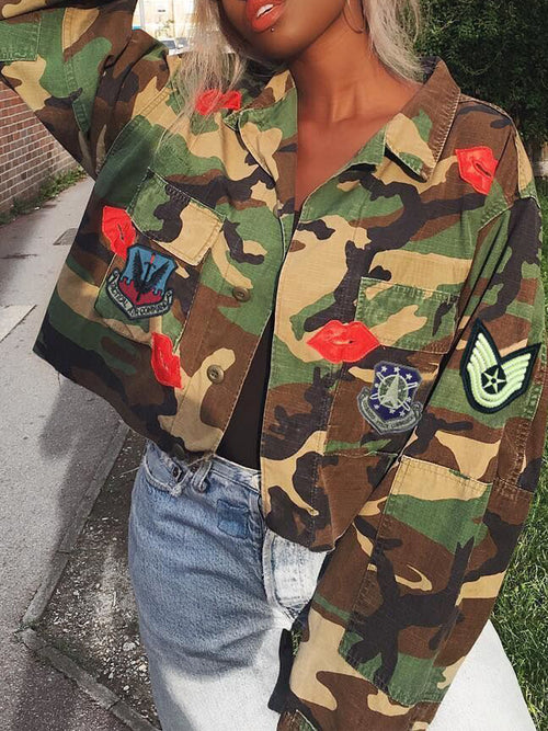 Camouflage Appliques Casual Jacket