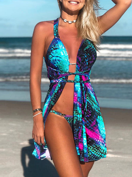 Hollow Out Sleeveless One Piece Swimwear With Tassels