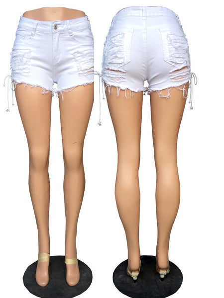 Lace-up Hole Beggar Short Pants