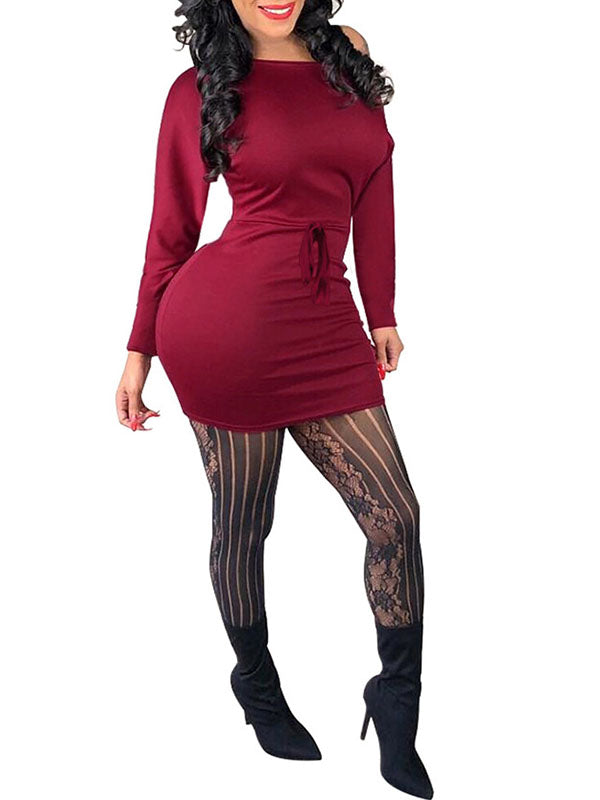 Solid Color Off One Shoulder Long Sleeve Mini Dress