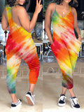 Plus Size Digital Print Pocket Sleeveless Jumpsuit