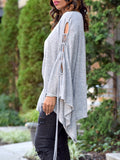 Batwing Sleeve Pierced Solid Color Irregular Hem Blouse