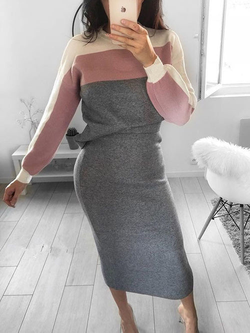 Casual Color Block Top & Midi Skirt