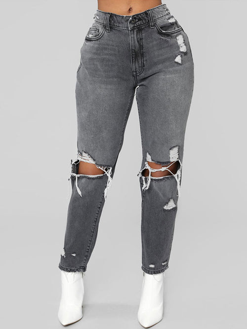 Fashion Casual Broken Holes Ripped Jeans