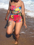 Digital Print Strapless High Waist Two Piece Swimwear