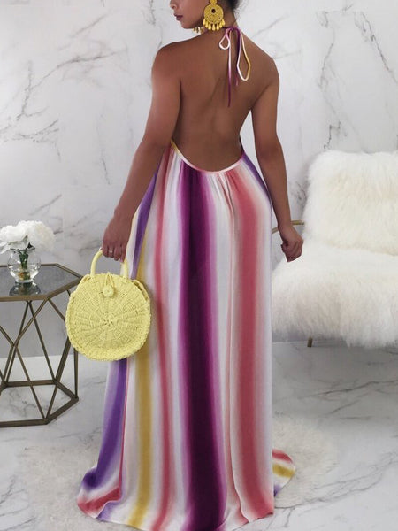 Backless Print Halter Neck Maxi Dress