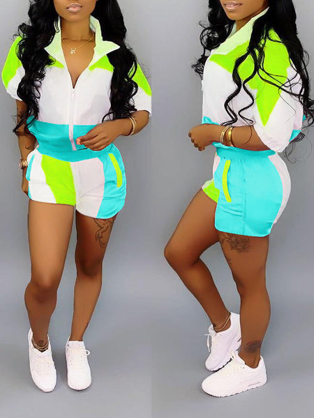 Turndown Collar Color Block Half Sleeve Top & Shorts