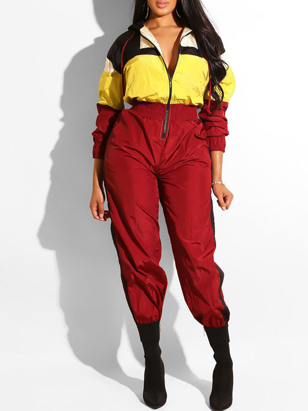 Fashion Zipper Color Block Jumpsuit