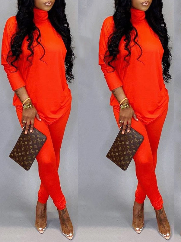 Knotted Solid Color High Neck Two Piece Sets