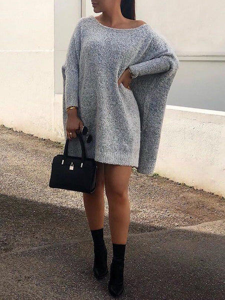 Solid Color Round Neck Long Sleeve Sweater Dress With Cloak
