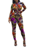 Digital Print Knotting Long Sleeve Casual Two Piece Outfits
