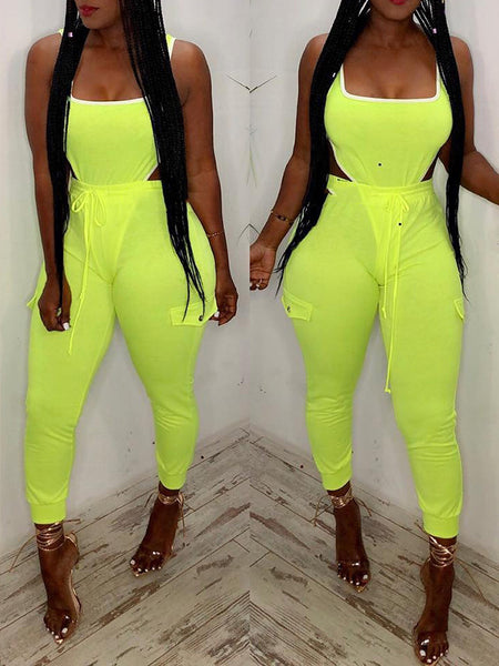 Solid Color Bandage Sleeveless Two Piece Sets