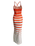 Sexy Striped Slip Maxi Dress