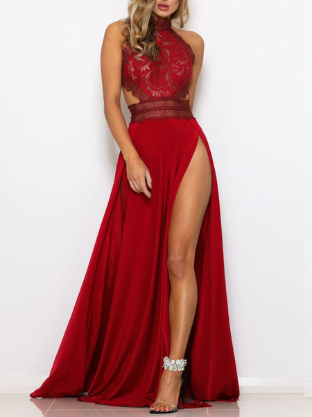 Sexy Lace Solid Maxi Dress