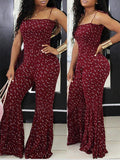 Fashion Print Sleeveless Flare Pants Jumpsuit
