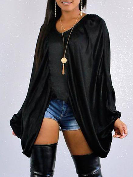 Casual V-neck Batwing Sleeve Top