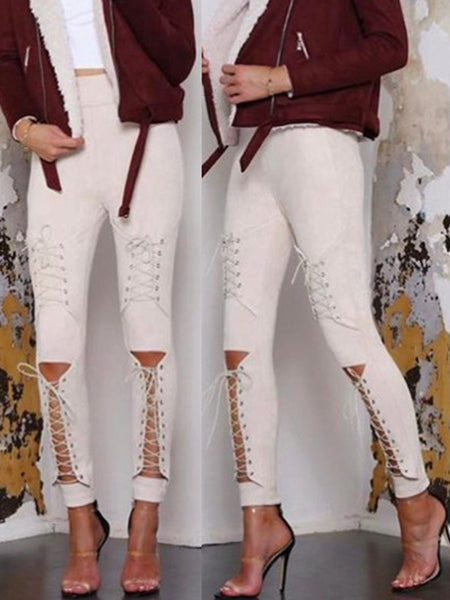 Eyelet Detail Bandage Sexy Solid Color Pants