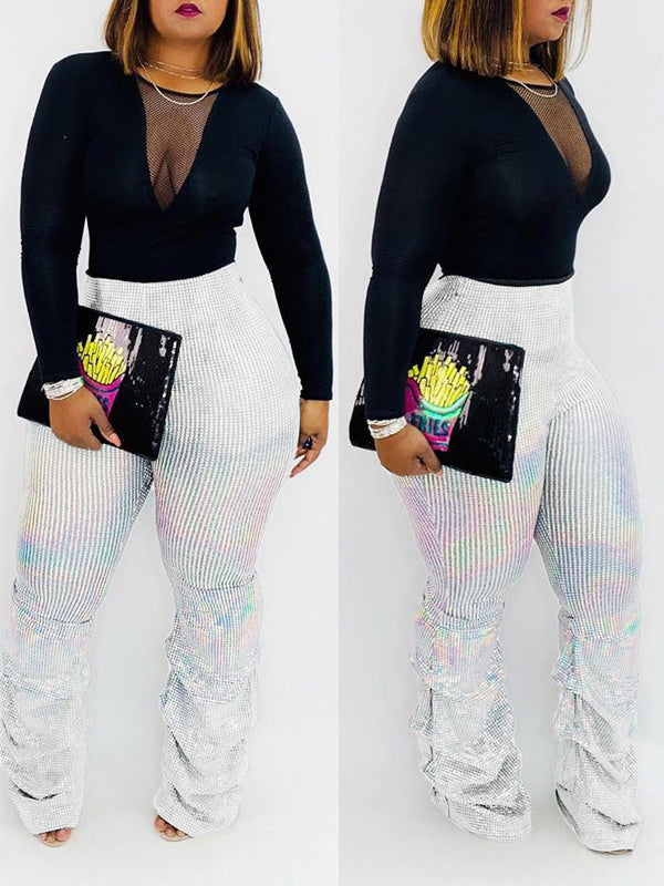 Sequin High Waist Stacked Pants