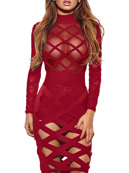 Sexy See-through Hollow Out Midi Dress