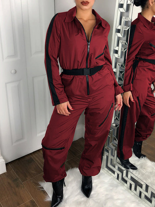 Zipper Up Solid Color Long Sleeve Jumpsuit With Belt