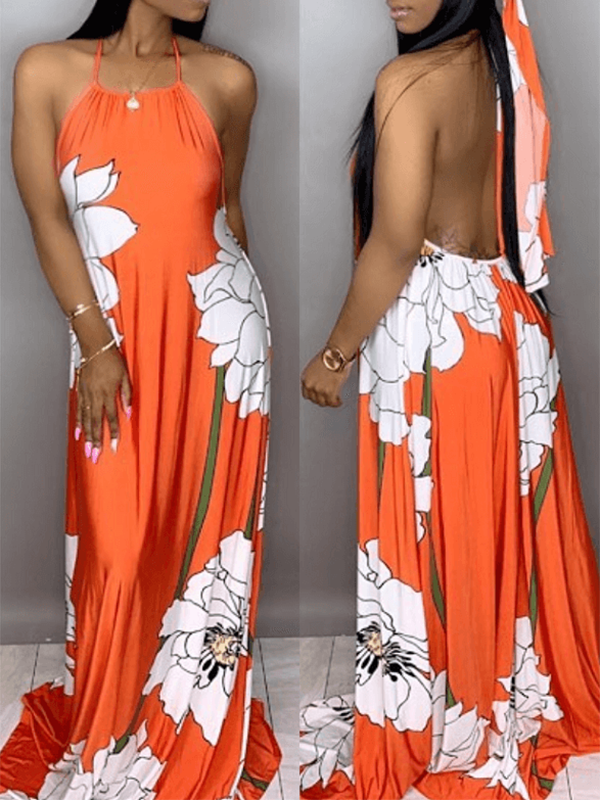 Floral Print Halter Sleeveless Casual Maxi Dress Without Head Scarf
