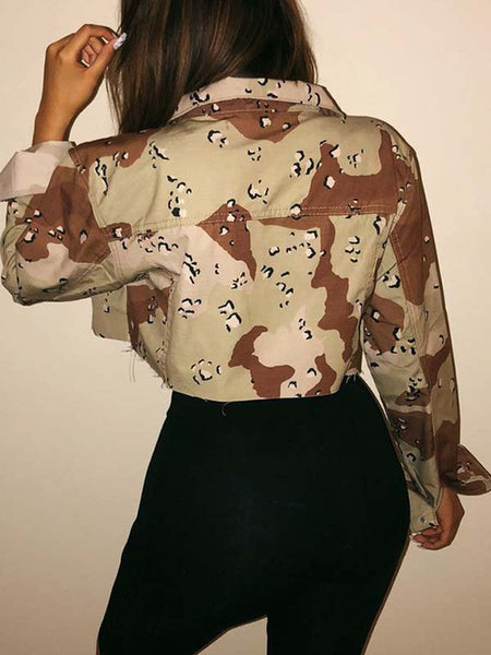 Button Up Camouflage Print Long Sleeve Jacket