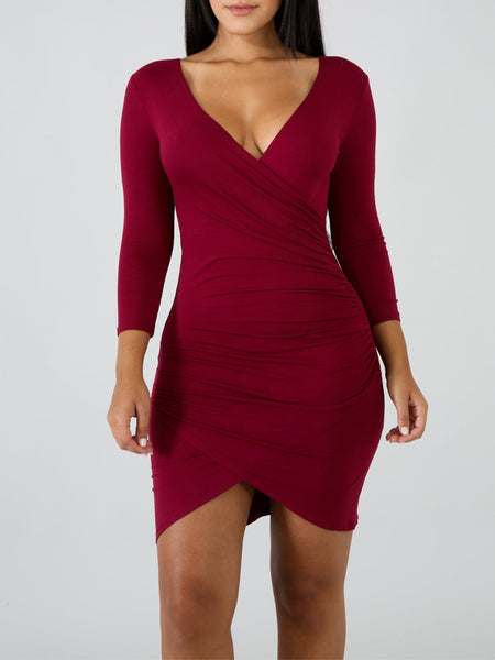 Solid Asymmetric Long Sleeve V-neck Mini Dress