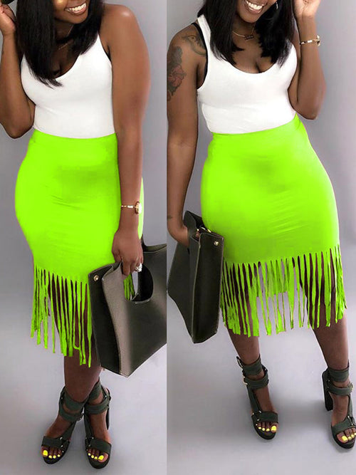 Plus Size Tassel Hem High Waist Midi Skirt