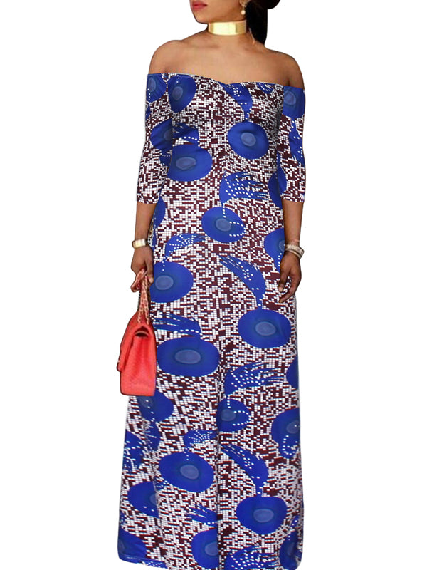 Casual Print Off The Shoulder Fashion Maxi Dress
