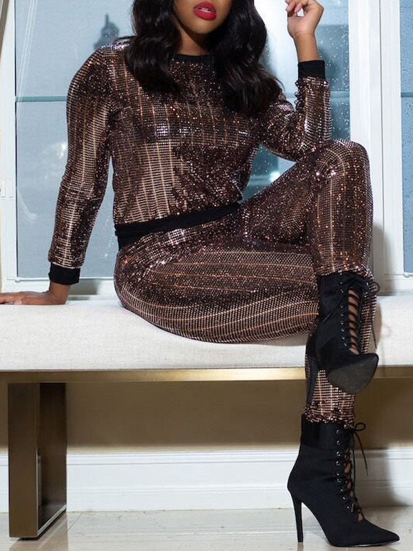 Christmas Sequin Round Neck Long Sleeve Two Piece Outfits