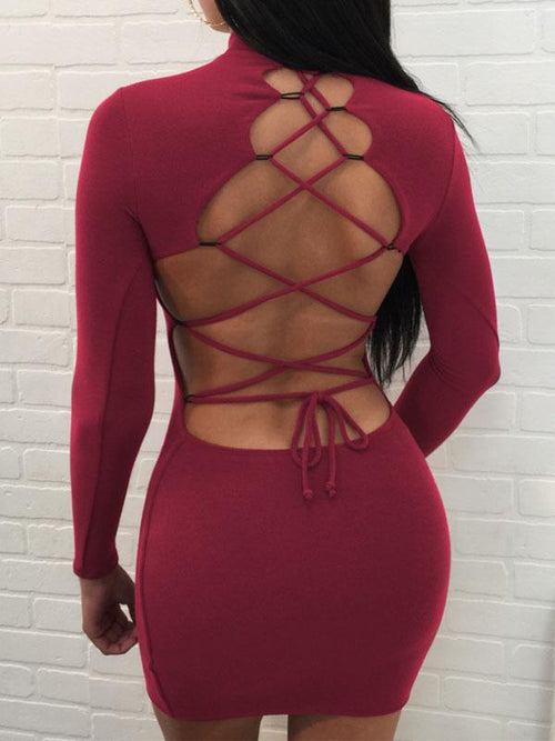 [Special Sale]Backless Bandage Solid Dress