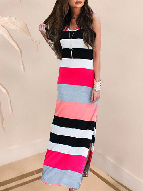 Mixed Color Sleeveless Casual Stripe Print Maxi Dress