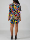 Turndown Collar Cartoon Print Top & Shorts