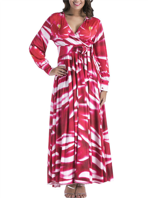 Long Sleeve V Neck Printed Wrap Maxi Dress