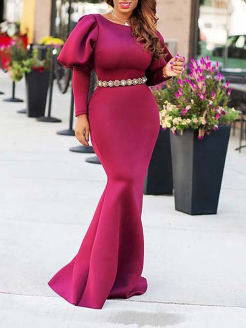 Solid Color Puff Sleeve High Waist Mermaid Dress