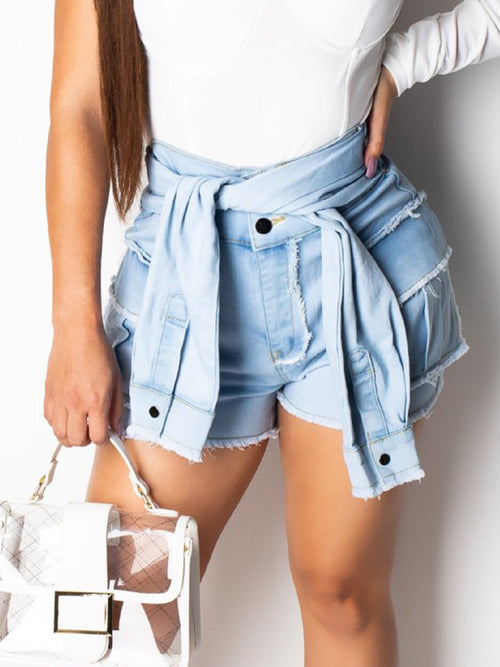 Faux Two Piece Denim Edge Distressed Shorts