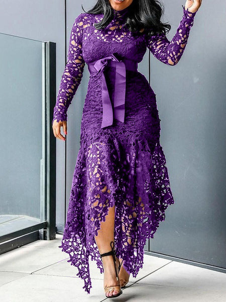 Embroidered Lantern Sleeve See-through Midi Dress