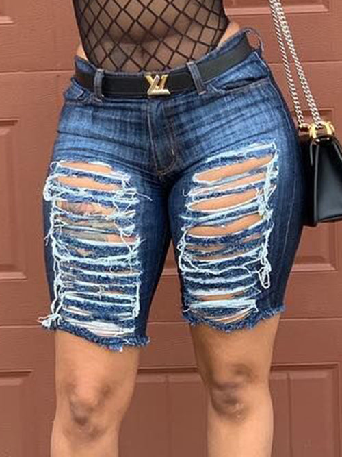 Edge Distressed Denim Solid Color Shorts
